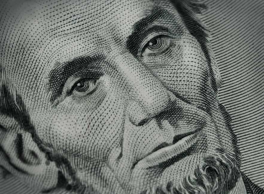 Close-up of Abraham Lincoln on bill