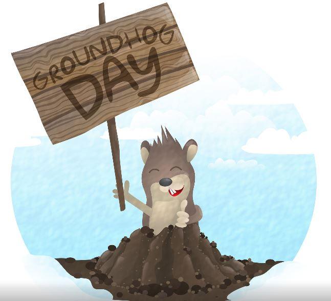 Cartoon groundhog holding up a sign