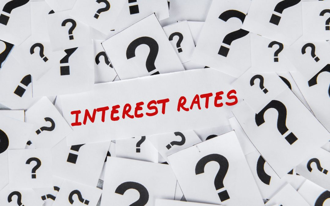 interest rates words surrounded by question marks