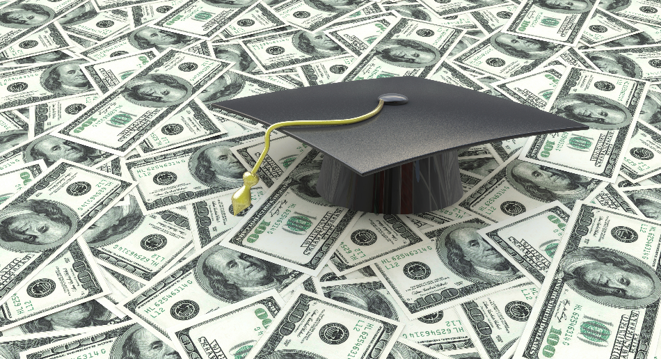 Graduation Cap Sitting on Money That Is New Debt