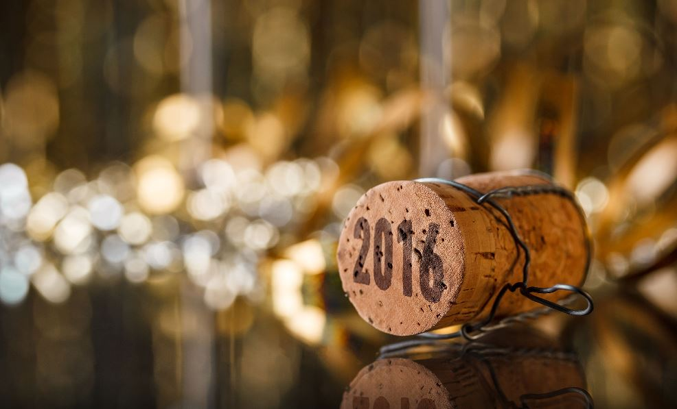 Cork with 2016 sitting on decorated table